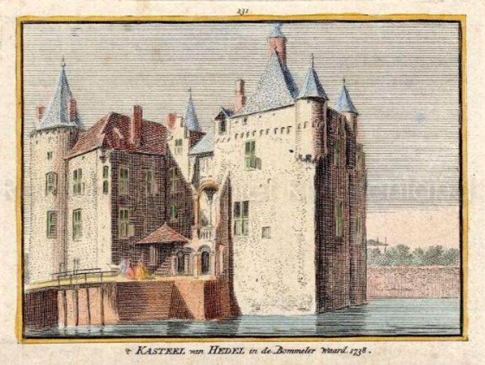 Een ingekleurde ets van kasteel Hedel, zoals het er rond 1730 uit moet hebben gezien, een kleine 70 jaar voordat de Fransen het verwoestten.