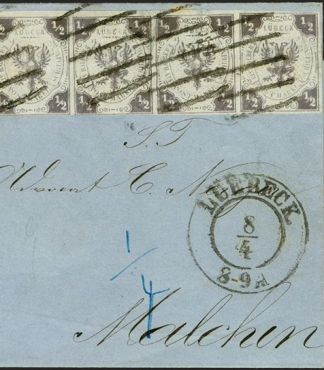 Gestempelde brief geveild voor 430.000 euro in Duitsland