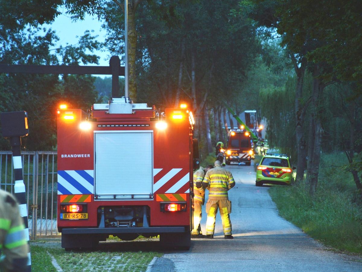 Hulpdiensten bij de te water geraakte auto op de Bolgarijsekade in Vianen.