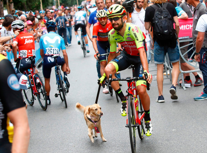 Fonzi komt bij de start aan met een hondje.