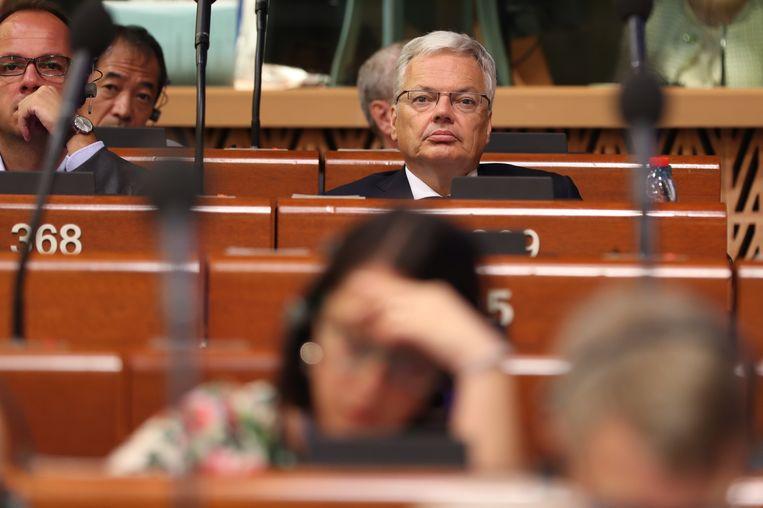 Reynders tijdens de stemming.
