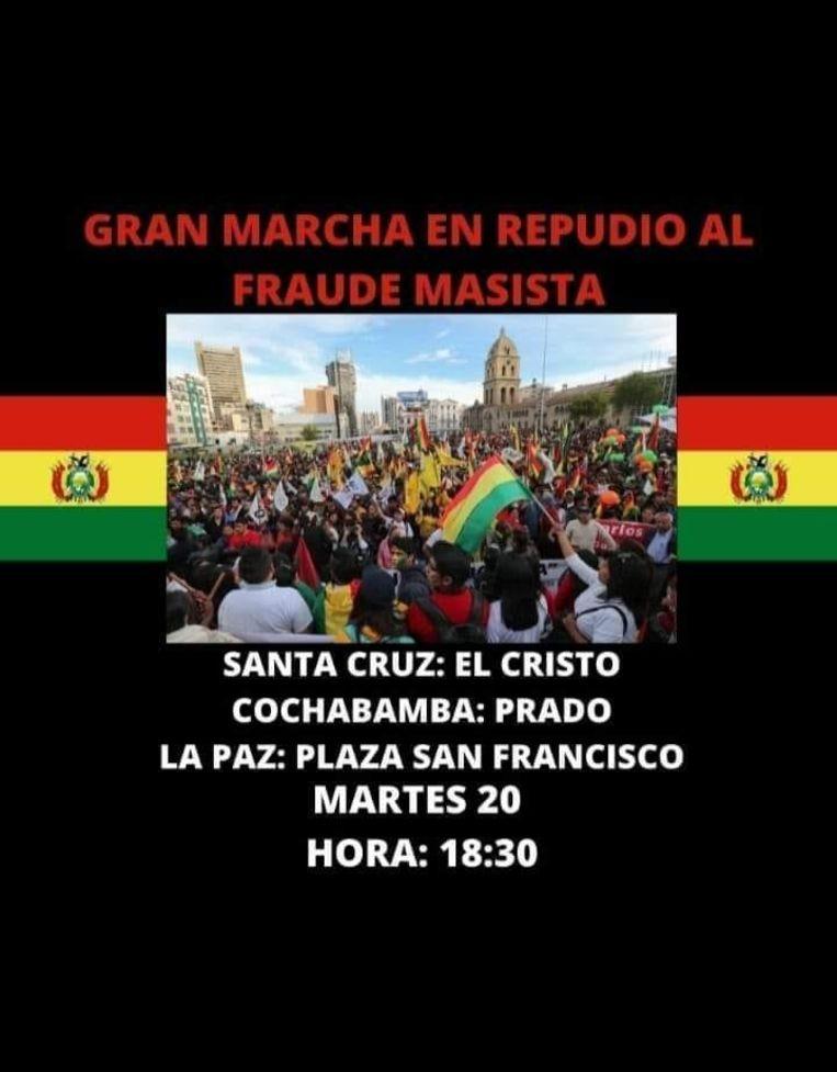 Oproep voor een mars tegen 'de fraude van de MAS' in Santa Cruz, Bolivia, afgelopen dinsdag. Beeld Joost de Vries