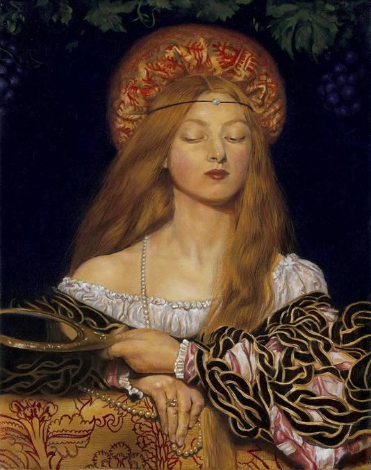De studie van Tessa van Frank Cowpers schilderij 'Vanity'.