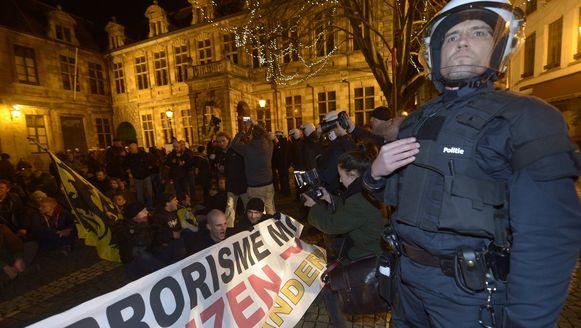 Verboden betoging van Pegida in Antwerpen in maart.