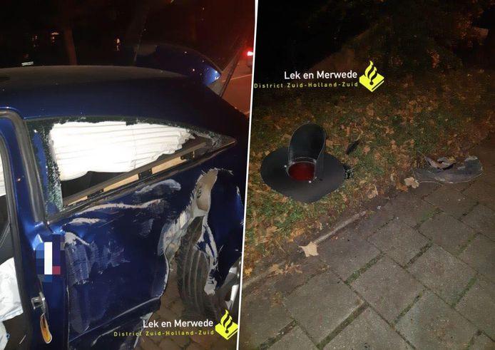De auto en de knipperlichtinstallatie liepen behoorlijke schade op bij het eenzijdige ongeval dat maandagavond plaatsvond bij de spoorwegovergang op de Banneweg in Gorinchem.