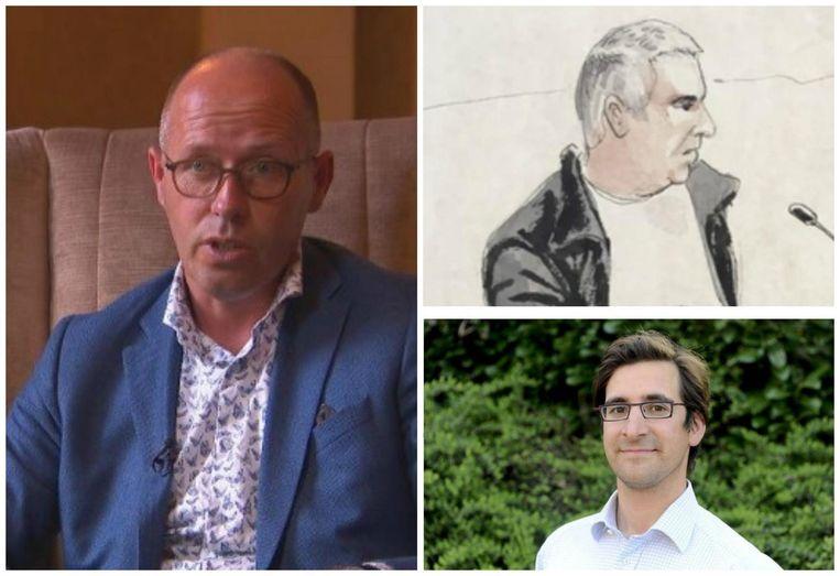 Foto links: politie-informant Anthonie Van Wilderoden. Rechtsboven: rechtbankschets van verdachte Evert De Clerq. Rechtsonder: slachtoffer Stijn Saelens.