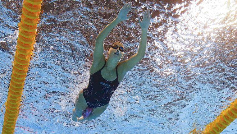 Yusra Mardini in het olympisch bad. Maanden eerder zwom ze in de Middellandse Zee naar Europa. Beeld reuters