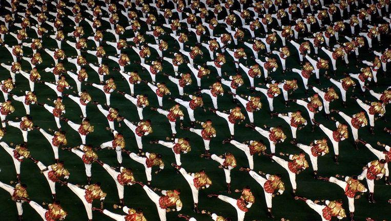 Het Noord-Koreaanse gymnastiek- en propagandafestival Arirang in de hoofstad Pyongyang (foto 2008). Beeld anp