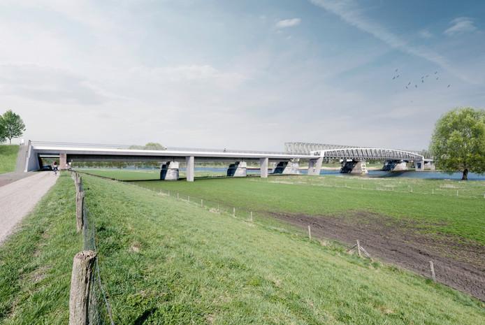 De nieuwe fietsbrug, gezien vanaf de Cuijkse kant.