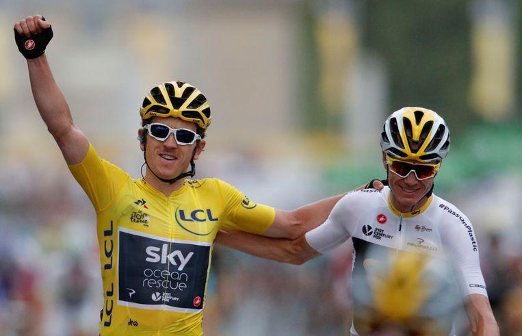 Geraint Thomas (in de gele trui) en Chris Froome, hier in de Tour van 2018. Dit beeld is niet meer zichtbaar dit jaar. Beeld Reuters