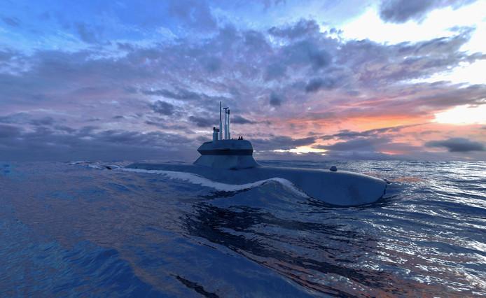 Ontwerp van Damen/Saab voor een nieuwe onderzeeboot.