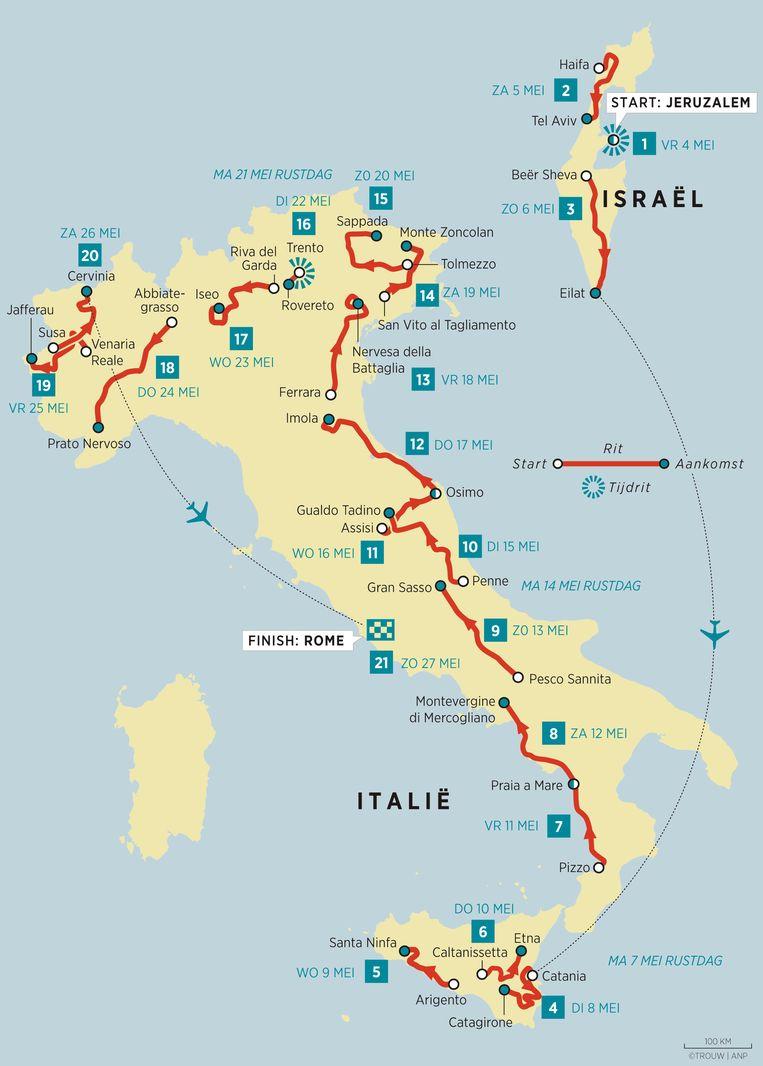 Het parcours van de Giro d'Italia 2018 Beeld Trouw/ANP