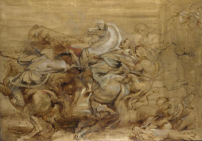 'De Leeuwenjacht', geleend uit Londen, met het bekende vrouwelijke paardenoog.