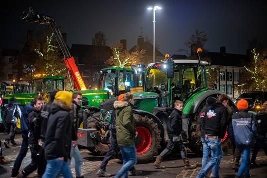 Demonstratie van bouwers en boeren in Arnhem.