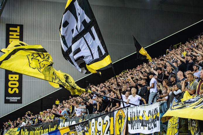 Het nieuwe sfeervak van Vitesse tijdens de Europa League-wedstrijd tegen FC Basel.