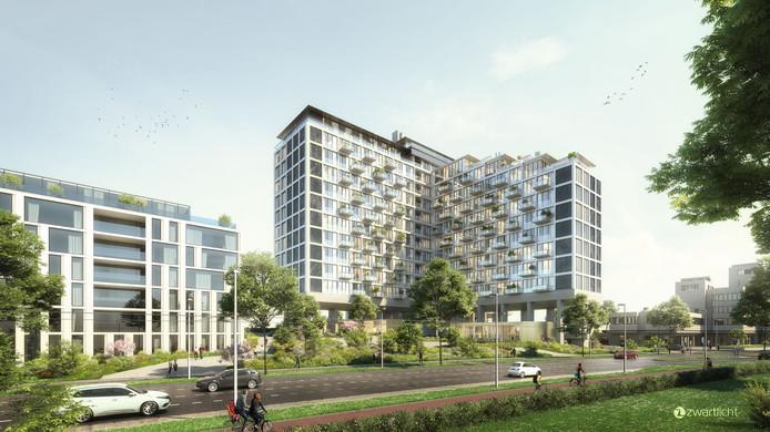 Impressie van High Park, het voormalige kantoor van ING aan de Velperweg in Arnhem. Het gebouw wordt verbouwd tot appartementencomplex.