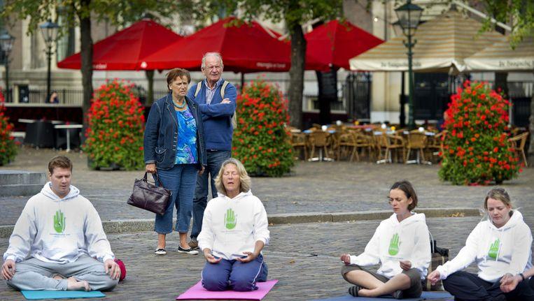 Yoga-beoefenaars vroegen in 2011 op het Plein in Den Haag aandacht voor dieren in de bontindustrie. Beeld ANP