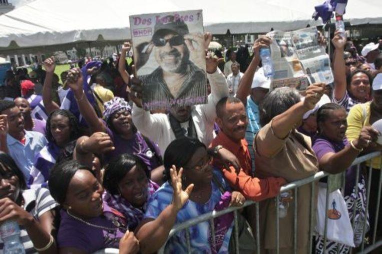 NDP-aanhangers vierden vorige maand feest, nadat Desi Bouterse tot president van Suriname was gekozen. ANP Beeld