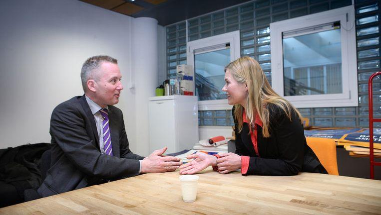 De Amsterdamse lijsttrekker van de VVD, dhr. eric van de Burg in debat met D66 lijsttrekker Ageeth Telleman. Foto Jean-Pierre Jans Beeld