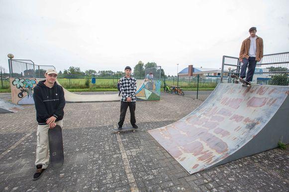 Jonas Emmerechts, Robbe Emmerechts en Aron Holbrecht lanceerden een petitie voor een beter en veiliger skatepark in Liedekerke.