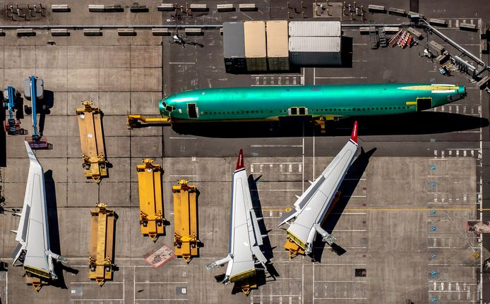 Een 737 Max in productie in Boeings vliegtuigfabriek in Renton, Washington.