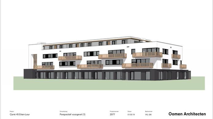 Een impressie van het nieuwe appartementencomplex dat binnen afzienbare tijd verrijst aan het Stationsplein in Etten-Leur.