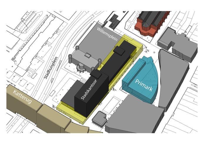 De gele stukken staan voor de groeiruimte van het stadskantoor in Tilburg.