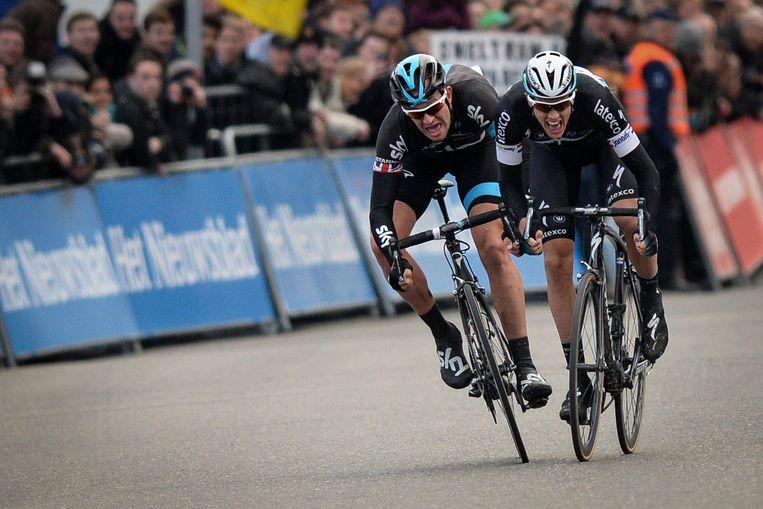 Stannard (links) verslaat Terpstra in de sprint. Beeld afp