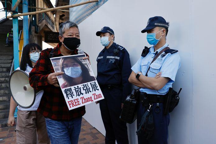 Beeld van een protest van activisten voor de vrijlating van onder meer Zhang Zhan.