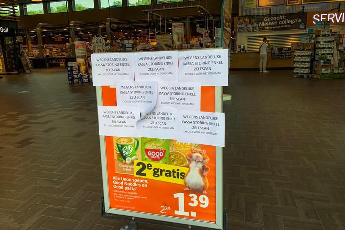 Bij de AH XL aan de Limburglaan in Eindhoven werkte dinsdagochtend alleen de zelfscan.
