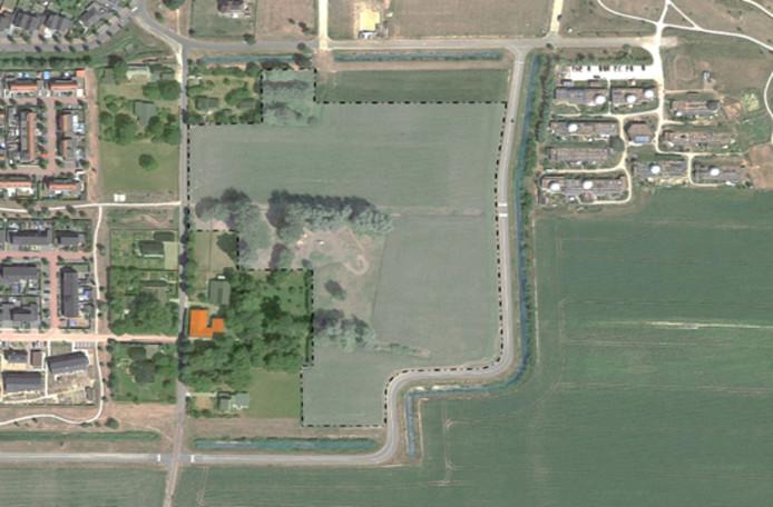 Het plangebied voor de nieuwe wijk Olstergaard in Olst.
