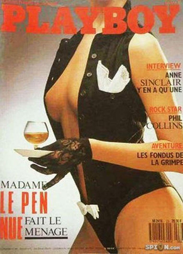 Op de cover van Playboy 1987: Pierrette Lalanne of mama Le Pen.