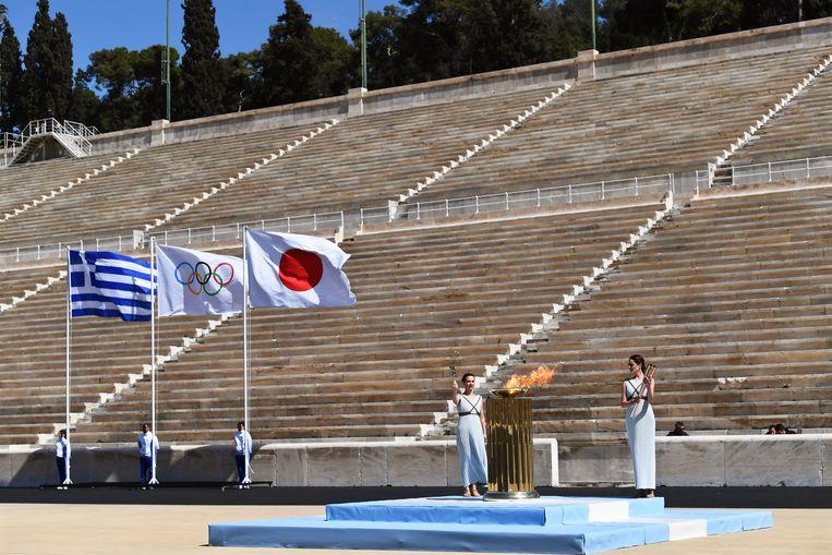 Het aansteken van de olympische vlam gisteren.