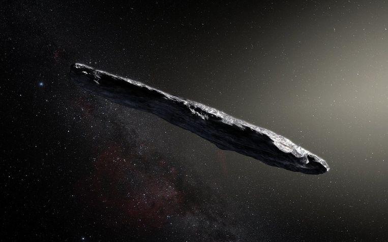 Is ruimterots Oumuamua een soort kosmische Ark van Noach waarop bacteriën en virussen de kosmos doorkruisen? Beeld ESO/M. Kornmesser