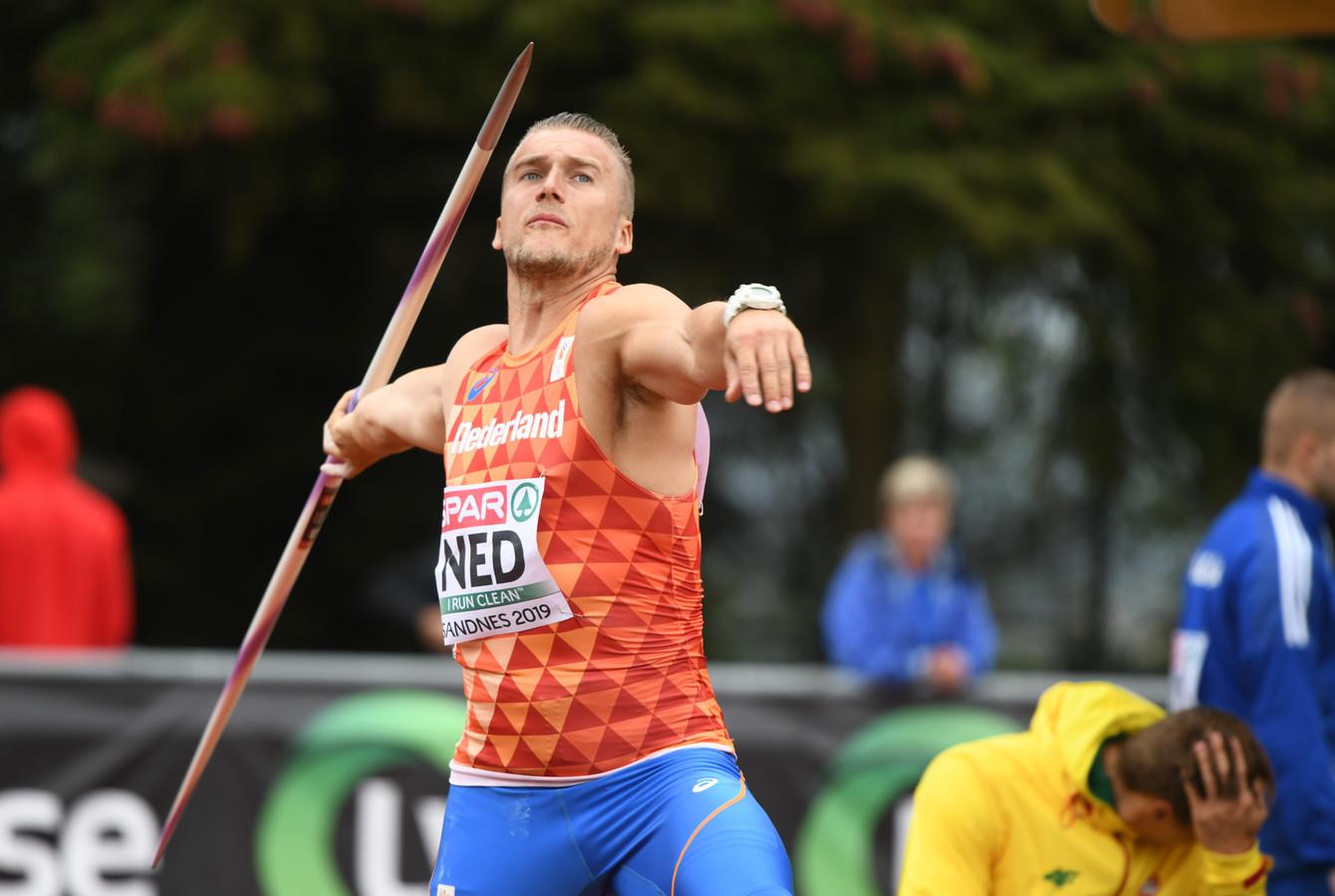 Lars Timmerman, hier bij het EK voor landenteam, is de nieuwe recordhouder speerwerpen op Valkenhuizen in Arnhem.