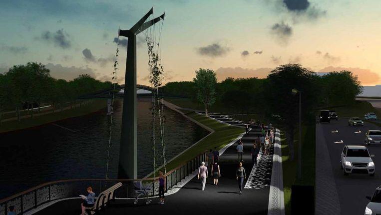 Artist impression van de nieuwe entree van het Noorderpark bij schemering Beeld West 8 architecten