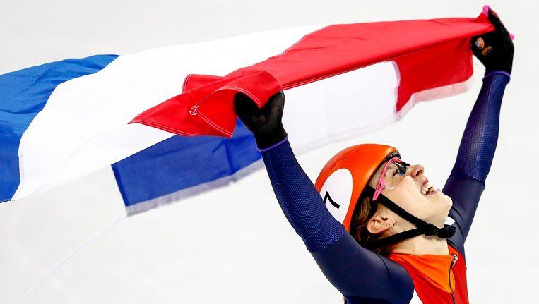Suzanne Schulting na de finale 1000 meter shorttrack tijdens de Olympische Winterspelen van Pyeongchang. Beeld null