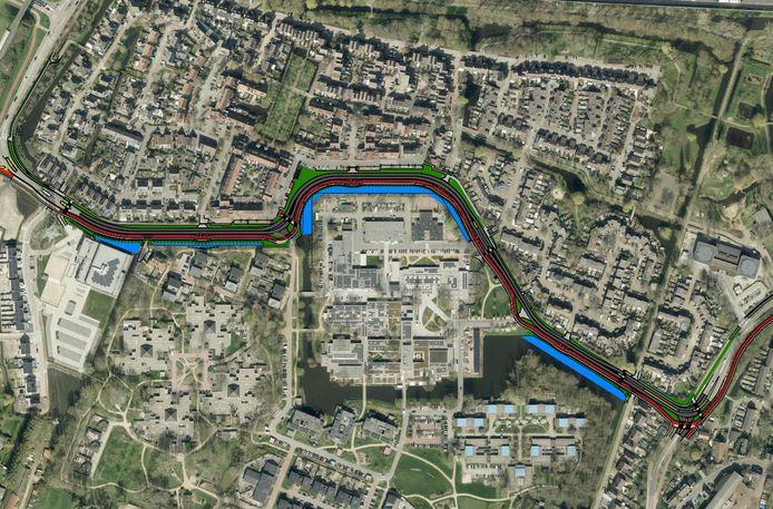 Het nieuwe fietspad (in het rood) langs de Craijensteijn in Sliedrecht. Verkeer komt links vanaf de A15 het dorp binnen.
