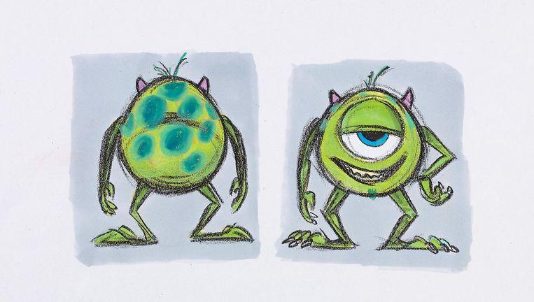 Een schets van Mike Wazowski, één van de hoofdpersonages van de Pixarfilm Monsters Inc. Beeld Pixar