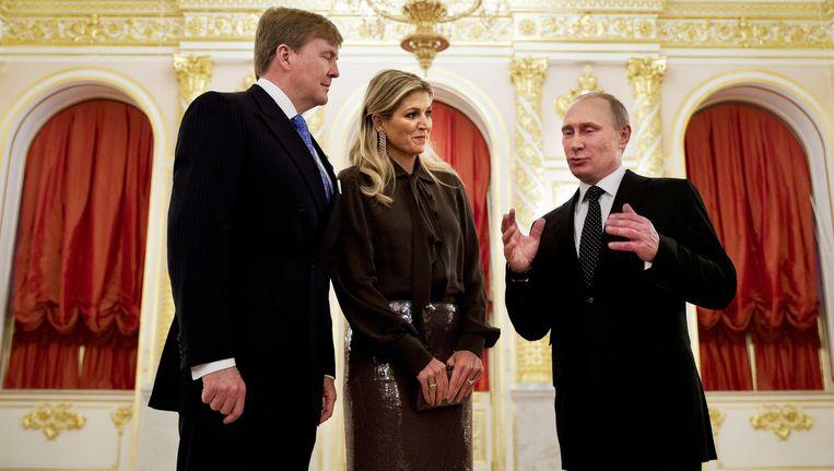 Koning Willem-Alexander en koningin Maxima worden in 2013 tijdens het Nederland-Rusland jaar door president Vladimir Poetin ontvangen in het Kremlin. Beeld null