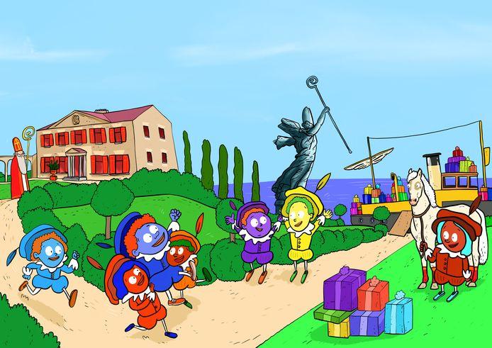 Illustratie uit het boek De vrolijkste verjaardag van Sinterklaas.
