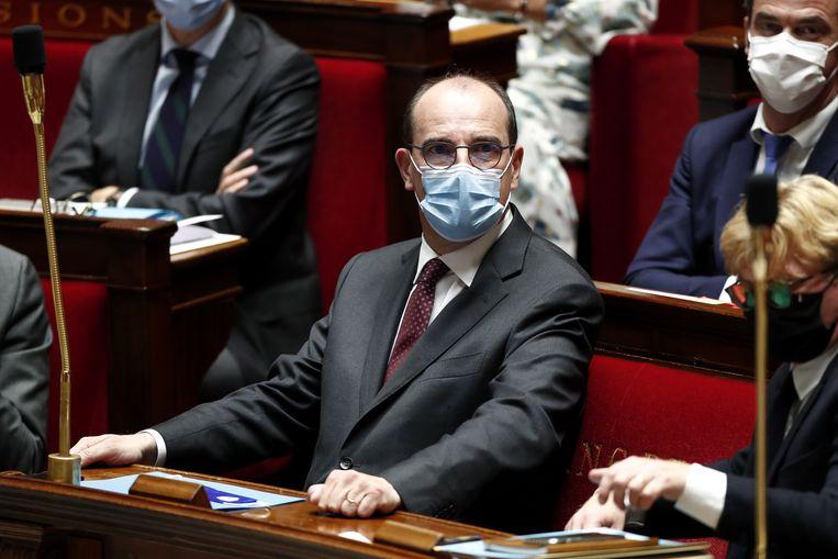 De Franse premier Jean Castex na zijn toespraak over het nieuwe herstelplan. Beeld EPA