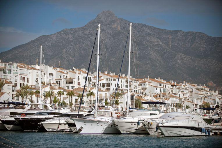 Jachthaven Puerto Banus bij Marbella, waar de doodgeschoten Yaqout succesvolle clubs had. Beeld AFP