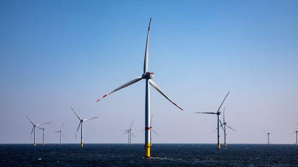 Het windpark Rentel van Otary in de Noordzee voor de kust van Oostende