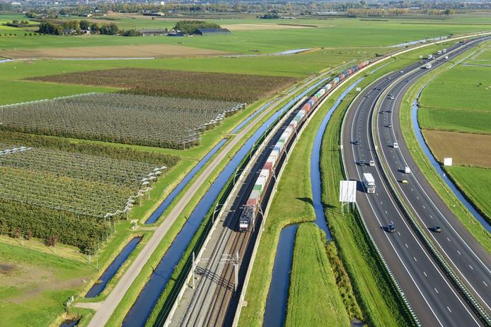 De Betuweroute en A15 nabij Echteld. Zo zou het in Twente ook kunnen: goederenspoor en snelweg gecombineerd.