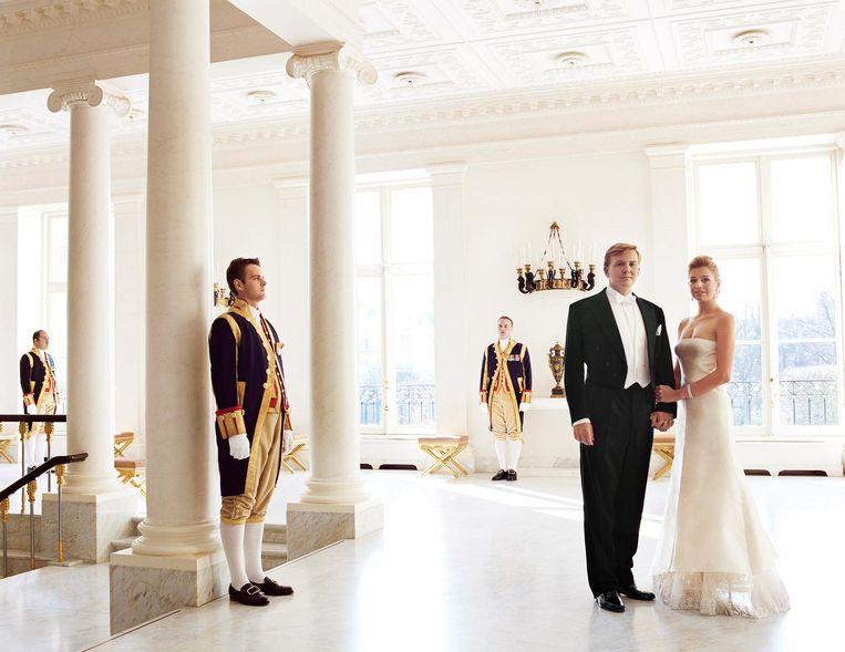 Koning Willem Alexander en koningin Máxima, in Den Haag voor Vanity Fair in 2003. Beeld Mario Testino