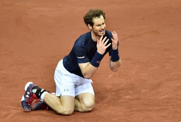 Andy Murray na het laatste punt. Beeld afp