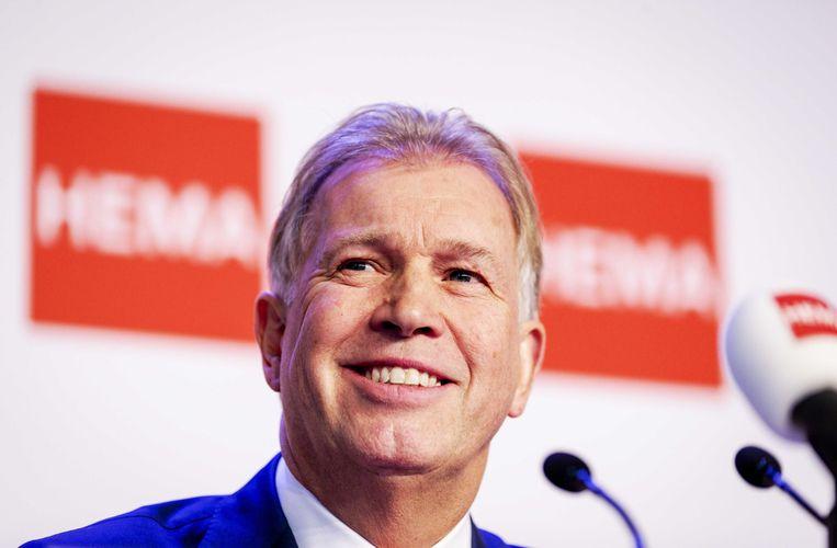 Marcel Boekhoorn tijdens de persconferentie over de overname van Hema.  Beeld ANP