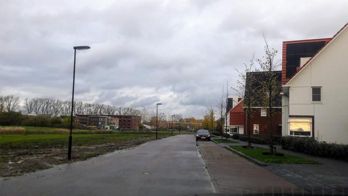 De Nijlantsingel in Wageningen. De bouwweg wordt links van de straat aangelegd. De bewoners zien de bouwweg liever aan de overzijde van het water.