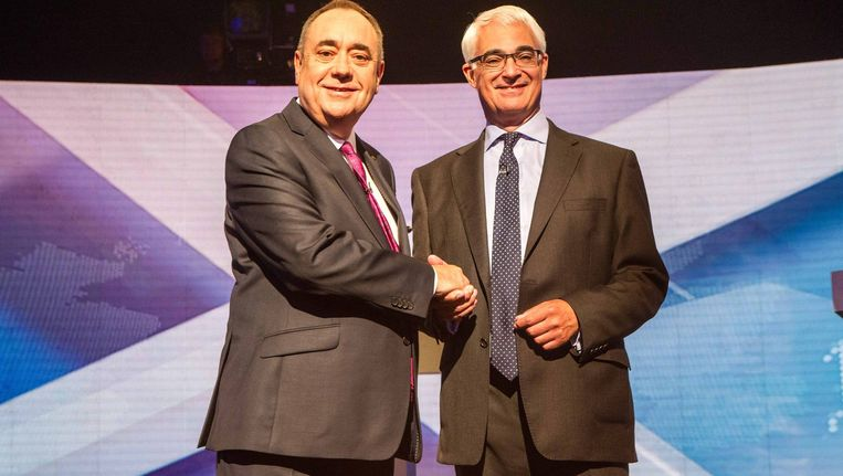 Alex Salmond (links) en Alistair Darling.